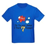 7th Birthday Airplane Kids Blue T-Shirt