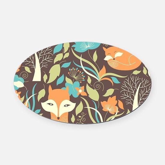 Woodland Fox Oval Car Magnet