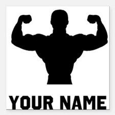 "Bodybuilder Silhouette Square Car Magnet 3"" x 3"""