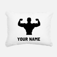 Bodybuilder Silhouette Rectangular Canvas Pillow