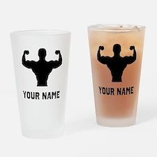 Bodybuilder Silhouette Drinking Glass