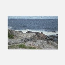 Rocks and Waves Travel Rectangle Magnet