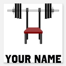 """Weightlifting Bench Square Car Magnet 3"""" x 3"""""""