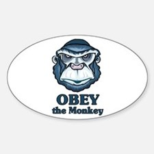 Obey the Monkey Oval Decal