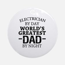 Cute Greatest electrician Round Ornament