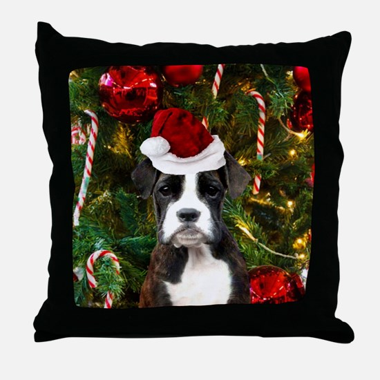 Christmas Boxer Dog Throw Pillow