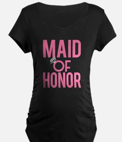 Maid of Honor funny pink wedding Maternity T-Shirt