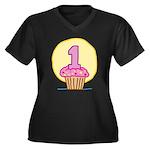 1st Birthday Cupcake Women's Plus Size V-Neck Dark