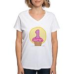 1st Birthday Cupcake Women's V-Neck T-Shirt