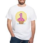 1st Birthday Cupcake White T-Shirt