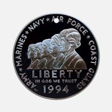 Women in the Military Silver Dollar Round Ornament
