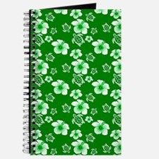 Green Hawaiian Flowers And Turtles Pattern Journal