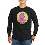 4th Birthday Cupcake Long Sleeve Dark T-Shirt