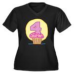 4th Birthday Cupcake Women's Plus Size V-Neck Dark