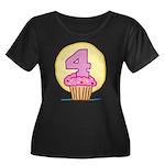 4th Birthday Cupcake Women's Plus Size Scoop Neck