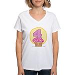 4th Birthday Cupcake Women's V-Neck T-Shirt