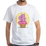4th Birthday Cupcake White T-Shirt