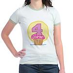 4th Birthday Cupcake Jr. Ringer T-Shirt