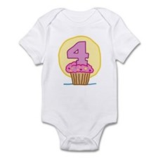 4th Birthday Cupcake Infant Bodysuit