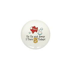 5th Birthday Airplane Mini Button (10 pack)