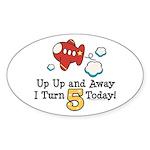 5th Birthday Airplane Oval Sticker