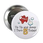 5th Birthday Airplane Button