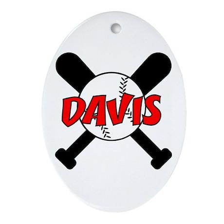 Davis Baseball Oval Ornament