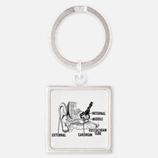 Ear Diagram Square Keychain