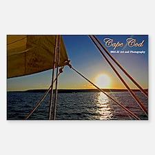 Cape Cod Sailboat Sunset Sticker (rectangle)