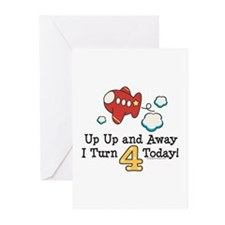 4th Birthday Airplane Greeting Cards (Pk of 20)