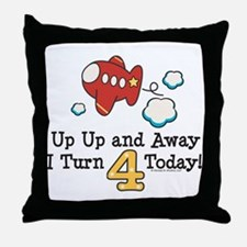 4th Birthday Airplane Throw Pillow