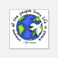 "Cute World peace Square Sticker 3"" x 3"""