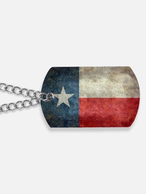 Texas state flag vintage retro style left Dog Tags