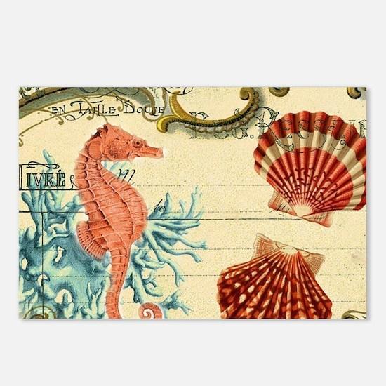 romantic seashells shabby Postcards (Package of 8)