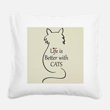 Better with Cats Square Canvas Pillow