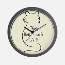Better with Cats Wall Clock