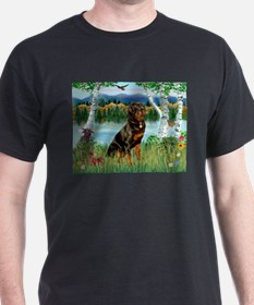 Cute Rottweiler tile T-Shirt