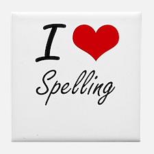 I Love Spelling Tile Coaster