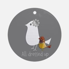 Cute Mama Bird Child Round Ornament