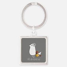 Cute Mama Bird Child Square Keychain