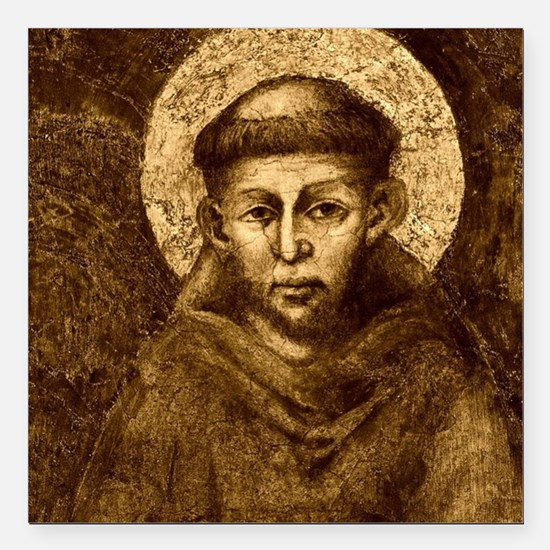 "Saint Francis Portrait Square Car Magnet 3"" x 3"""