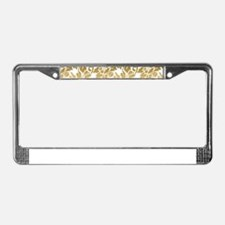 Gold Floral Damask Pattern License Plate Frame
