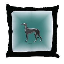 Emerald & Silver Greyhound Throw Pillow