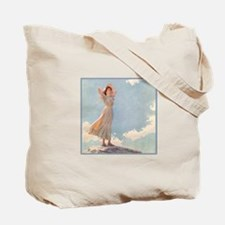 Woman on top of a Mountain by Curran Tote Bag