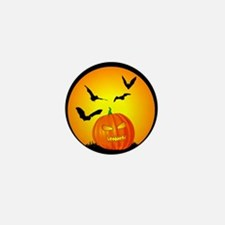 Halloween Moon Jack-O-Lantern Mini Button