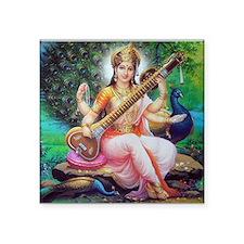 "Cute Saraswati Square Sticker 3"" x 3"""