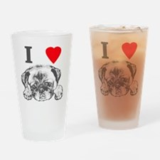 I Love Pugs Drinking Glass