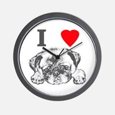 I Love Pugs Wall Clock