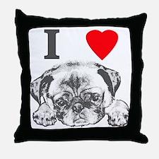 I Love Pugs Throw Pillow