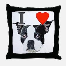 I Love Boston Terriers Throw Pillow